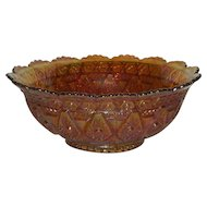 Imperial, Marigold, Diamond Lace, Carnival Glass Bowl