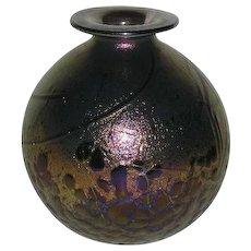 Signed, Phennius Maus, Iridescent Art Glass Bottle/Vase