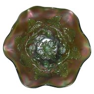 Green, Millersburg, Blackberry Wreath, Carnival Glass Bowl