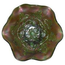 Green, Millersburg, Blackberry Wreath, Carnival Glass Bowl