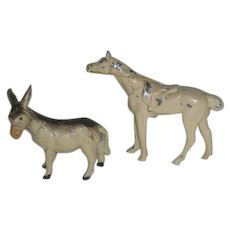 Cast Metal Horse & Donkey , Figurines