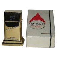 1963, Goldtone, Zippo, Barcroft, Service Award Table Lighter W/Original Box