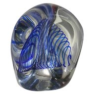 Signed, K. Steinman, Three Sided, Blue Swirl, Large Paperweight