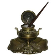 1860's, Brass, Urn Inkwell W/Porcelain Liner & Quill Pen