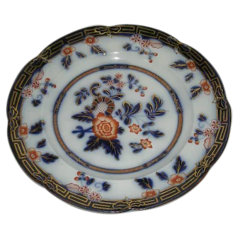 Gold Trimmed, Floral Decorated, Polychrome, Flow Blue Plate