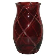 Czechoslovakia, Red Cut to Clear, Diamond Pattern Vase