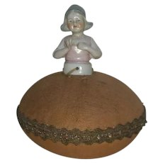 Victorian, Dutch Girl, Porcelain Bodied Pin Cushion