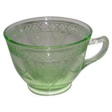 Green, Federal Glass, Parrot, Depression Glass Cup