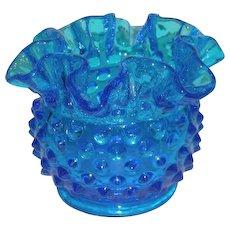 "1960's, Fenton, Colonial Blue, 3"" Hobnail Vase"