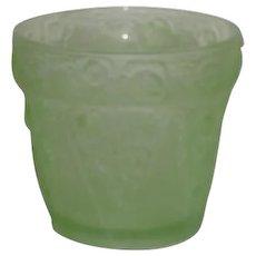 Satin Green, Floral Pattern, Uranium Glass Planter/Vase