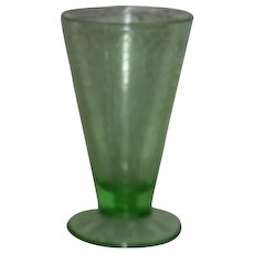 "Green. L.E. Smith, 6"" Crackle Pattern, Footed Goblet"