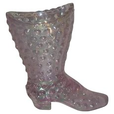 Fenton, Pastel Pink, Hobnail, Carnival Glass Boot