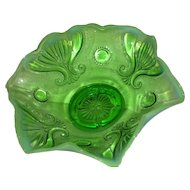 Green Opalescent, Jefferson Glass Co., Jewel & Fan Bowl