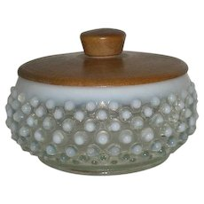 Fenton, French Opalescent, Hobnail, Wrisley Puff Box W/Wood Lid