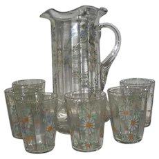 Fenton, 7 Pc., Enamel Decorated, Tankard Water Set