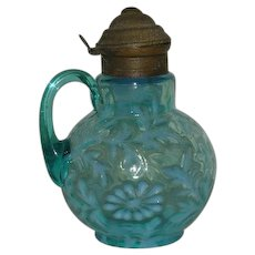 Northwood, Blue Opalescent, Daisy & Fern Syrup Pitcher