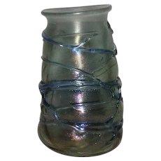 Signed, Iridescent, Threaded, Art Glass Vase