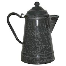Small, Grey Swirl, Graniteware Coffee Pot
