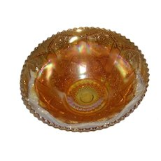 Imperial, Marigold, Star & File Carnival Glass Bowl