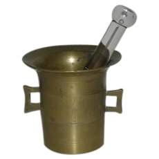 Brass & Glass Mortar & Pestal