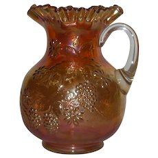 Fenton, Marigold, Floral & Grape Variant, Carnival Glass Water Pitcher