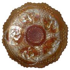 Fenton, Marigold, Horse Medallion Carnival Glass Plate
