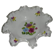 Fenton, Hand Painted, Silver Crest 8 Ruffled Bowl
