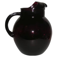 Anchor Hocking, Royal Ruby, Ice Lip Ball Pitcher