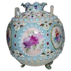 Heavy Enameled, Porcelain, Rose Bowl/Basket