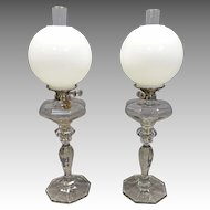 Pair Fostoria #17 Banquet Lamps with Double Wicks, John Wanamaker