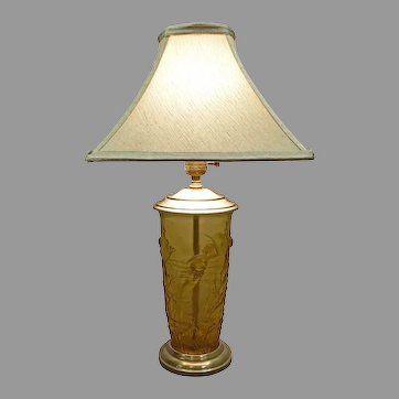 Figural Amber Glass Lamp with Mermaids