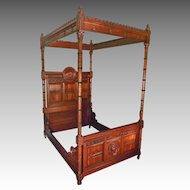 Victorian Canopy, Tester Bed with Storks/Herons