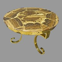 Round Onyx & Brass Coffee Table