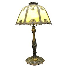 Unusual Slag Glass Lamp with Yellow Panels