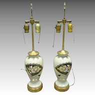 Pair of China Lamps with Hand Painted Birds