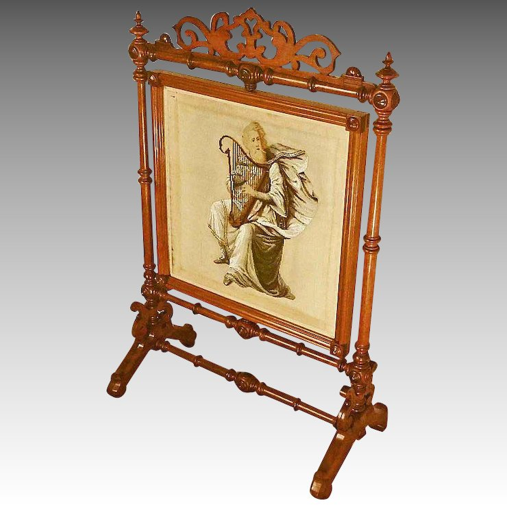 Victorian Beaded Needlepoint Fire Screen with Harp : Antiques On ...
