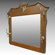 Oak Mirror with Coat & Hat Rack