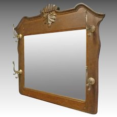 Oak Mirror with Coat & Hat Rack