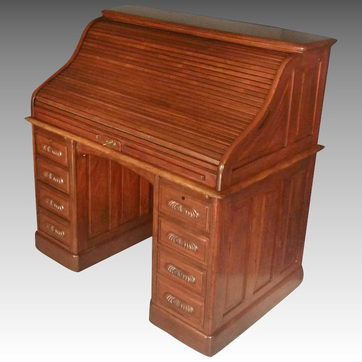 Mahogany Roll Top Desk - Mahogany Roll Top Desk : Antiques On Hanover Ruby Lane