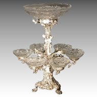 Silver Plate Epergne with Cut Glass Bowls