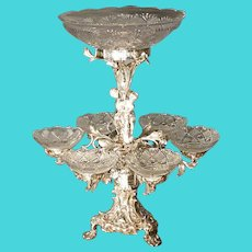 Silverplate Epergne with Cut Glass Bowls