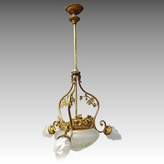 French Brass Chadelier Hanging Light