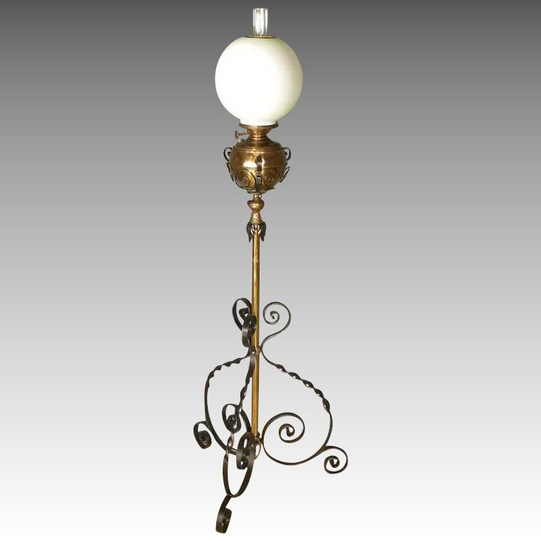 Victorian iron brass floor lamp antiques on hanover for White victorian floor lamp