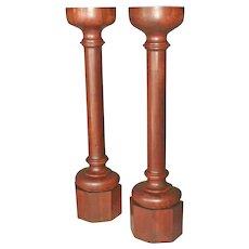 Pair Walnut Columns, Pedestals