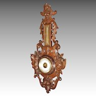 Carved Walnut Black Forest Barometer, Aneroid