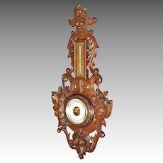 Carved Walnut Black Forest Barometer, Aneroid