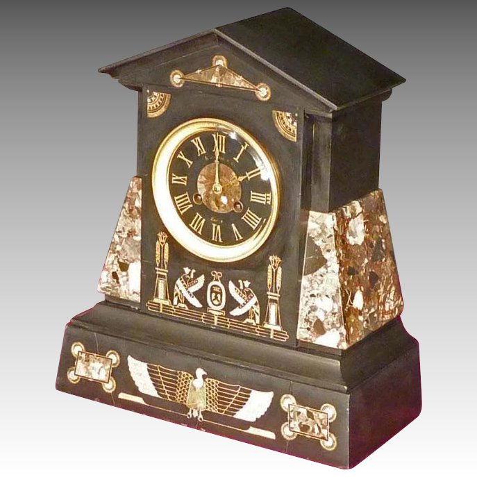 Egyptian Revival Marble Mantle Clock. Click To Expand