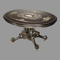 Ebonized Victorian Center Table with Inlay
