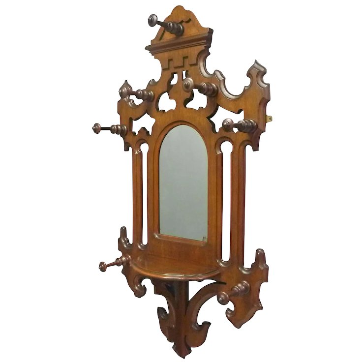 Victorian Hall Mirror With Hat And Coat Rack SOLD Ruby Lane Inspiration Victorian Coat Rack
