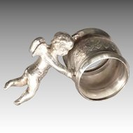 Silver Plate Napkin Ring with Cherub